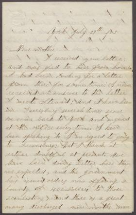 Letters from Thomas Dick (Jul. - Dec. 1863)