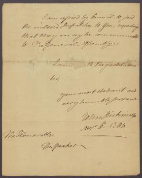Letter from John Dickinson to Speaker of the Pennsylvania General Assembly