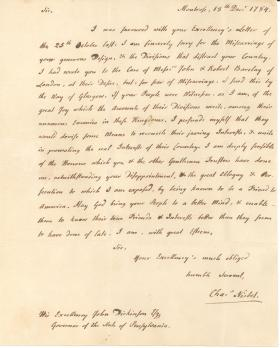 Letter from Charles Nisbet to John Dickinson