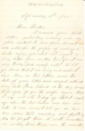 Letters from Thomas Dick (Sept. - Oct. 1862)