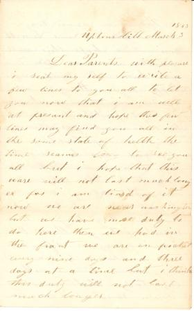 Letters from John Cuddy (March 1863)