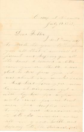 Letters from John Cuddy (Jul. - Sept. 1863)