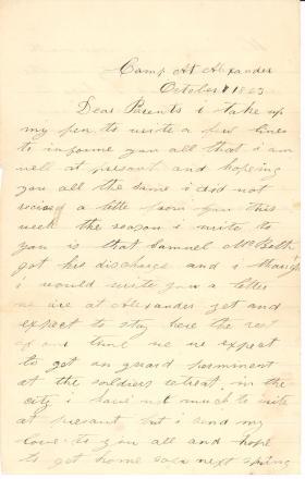 Letters from John Cuddy (Oct. – Nov. 1863)