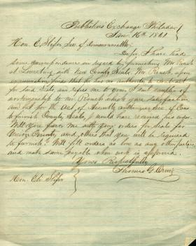 Letters from Thomas Orwig to Eli Slifer