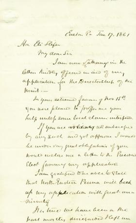 Letters from Henry Maxwell to Eli Slifer