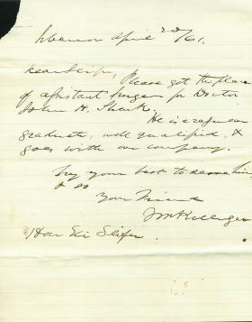 Letters from John W. Killinger to Eli Slifer