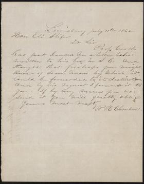 Letter from R. H. Chamberlin to Eli Slifer