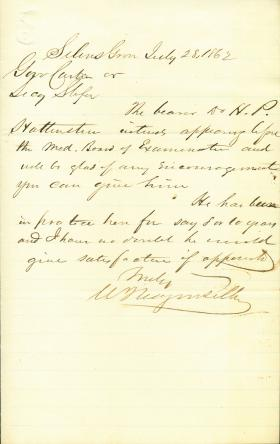 Letter from William Wagenseller to Andrew Curtin and Eli Slifer