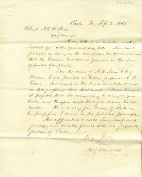 Letter from Henry Maxwell to Alexander McClure