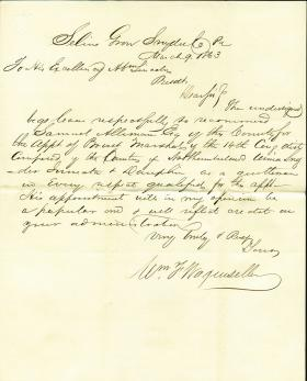 Letter from William Wagenseller to Abraham Lincoln