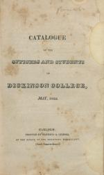 Catalogue of the Officers and Students of Dickinson College, 1822-23