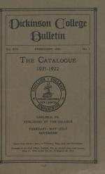 Catalogue of Dickinson College, Annual Session, 1921-22