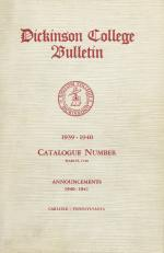 Dickinson College Bulletin, Annual Session, 1939-40