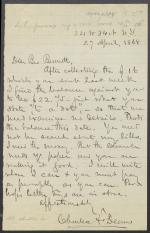 Letter from Charles Deems to Mr. Bennett