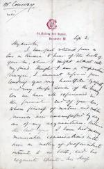 Letter from Moncure Conway to Unknown Recipient