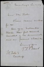 Letter from Spencer Baird to H. Foster