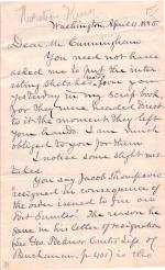 Letter from Horatio King to John Cunningham
