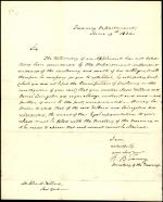 Letter from Roger B. Taney to John Willard