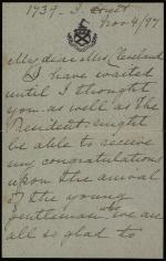 Letter from Harriet Lane Johnston to Frances Cleveland