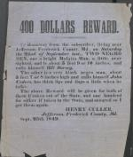 Broadside, Reward for Fugitive Slaves by Henry Culler