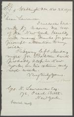 Letter from Spencer Baird to George Lawrence