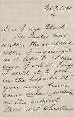 Letter from Harriet Lane Johnston to Jeremiah Black