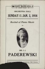 I. J. Paderewski recital program