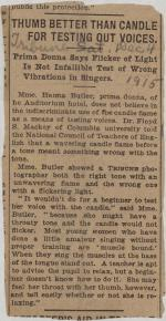 """Thumb Better Than Candle for Testing Out Voices"" clipping from unknown newspaper"