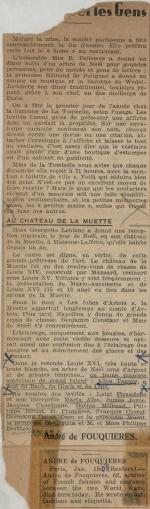 """Au Chateau de la Muette"" clipping from unknown newspaper"