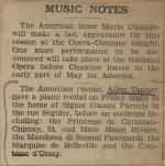 """Music Notes"" clipping from unknown newspaper"