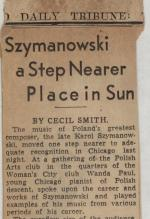 """Syzmanowski a Step Nearer Place in the Sun"" by Cecil Smith, Chicago Daily Tribune newspaper clipping"