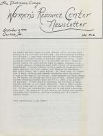 Women's Resource Center Newsletter (Oct. 1977)