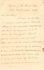 Letter from James Buchanan to W. Hunter