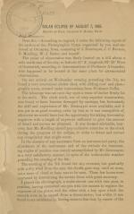 """""""Solar Eclipse of August 7, 1869,"""" by Charles F. Himes"""