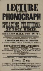 """Broadside of """"Lecture on Edison's Phonograph"""""""