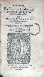 Αναλυσις. Resolutio Dialectica Qvatvor Librorvm Institutionum Imperialium