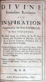Divine Immediate Revelation and Inspiration, Continued in the True Church, In Two Treatises
