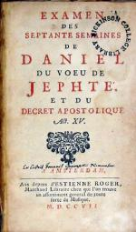 Examen Des Septante Semaines De Daniel Du Voeu De Jephté...