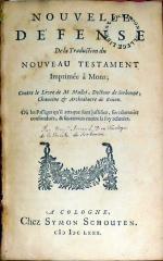 Nouvelle Défense De la Traduction du Nouveau Testament Imprimée à Mons
