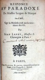 Responce Av Paradoxe De Maistre Iacques de Marque...