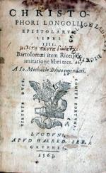 Epistolarvm Libri IIII. Bartolomaei item Riccij de imitatione libri tres