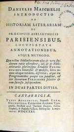 Introductio Ad Historiam Literariam De Praecipuis Bibliothecis Parisiensibus