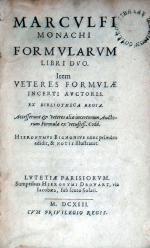 Formvlarvm Libri Dvo. Item Veteres Formvlae Incerti Avctoris...