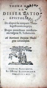 Dissertatio Epistolica, De aliquot sui temporis Theologastrorum ineptijs...