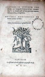 Sententiae Vetervm Poetarum..Antonii Mancinelli De Poetica...