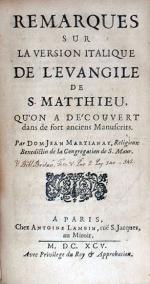 Remarques Sur La Version Italique De L'Evangile De S. Matthieu...