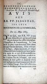 Avis Aux RR. PP. Jesuites, Sur Leur Procession De Luxembourg, Du 20. May 1685