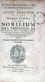 De Statv Nobilivm Civili Synoptica Tractatio: In Qva Nobilium Jura...