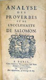 Analyse Des Proverbes Et De L'Ecclesiaste De Salomon