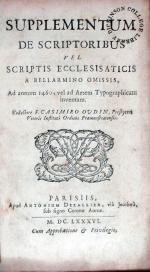 Supplementum De Scriptoribus Vel Scriptis Ecclesisaticis...